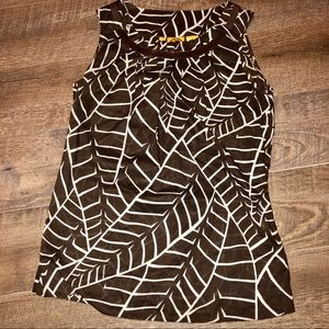 Tory Burch Brown Leaf Printed Sleeveless Blouse